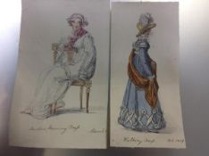 """Two Regency fashion watercolours, """"Walking Dress"""" and """"Indoor Morning Dress"""", watercolours on paper,"""