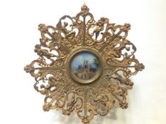 19th Century School, Melrose Abbey, watercolour, a roundel mounted under glass in an elaborate