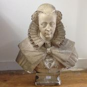 A large 19th century plaster bust of Mary, Queen of Scots, modelled with lace ruff, on an integral