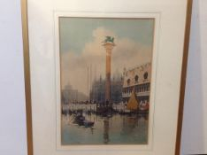 Continental School, c. 1900, The Piazzetta, Venice, indistinctly signed lower right, watercolour,