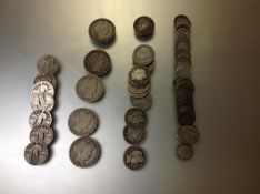 A group of U.S. coins by Barber: 43 dimes (VG to VF); 12 quarters, 5 1/2 dollars; and 7 standing