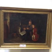 Attributed to John Inglis McClymont (Scottish, 1858-1934), By the Fireside, oil on canvas, framed.