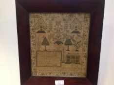 A 19th century needlework sampler, Euphemia White, Aged 9 Years, Ceres, 1845, worked with house,
