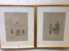 Chinese School, a pair of watercolours of Street Vendors, on paper, each with red seal marks,