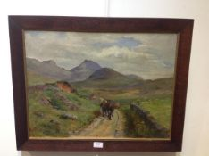 """British School, early 20th century, """"Crianlarich"""", a lonely road, attributed verso to Lionel"""