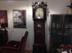 A Lancashire mahogany longcase clock, late 18th century, the arched painted dial signed William