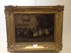 J.J. Guillarmont (fl. c. 1900), Sheep in a Barn, signed lower right, oil on canvas, in a gilt-