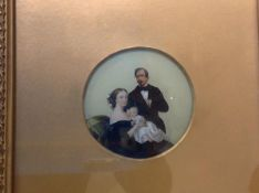 English School, c. 1860, A Family Group, reverse painted on glass, unsigned, circular, in a gilt