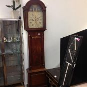 An unusual 19th century Masonic mahogany cased longcase clock, the polychrome and gilt painted