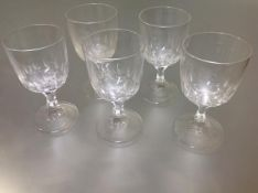 A set of five 19th century glass rummers, each bowl with a thumb-cut band above a faceted waisted