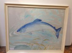 •Ralston Gudgeon R.S.W. (Scottish, 1910-84), Leaping Salmon, gouache and watercolour, signed lower