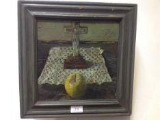 Fred Gray (Scottish, 20th Century), Still Life of Apple with a Crucifix, signed verso and