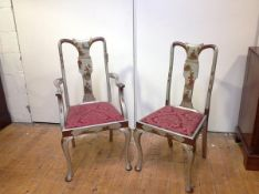 Two 1920's silver lacquer Chinoiserie chairs, probably Hille of London, comprising a carver and side