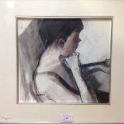 •Alexandra (Sandie) Gardner (Scottish, b. 1948), A Pensive Pose, signed lower left, pastel,