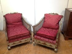 A pair of 1920's silver lacquer Chinoiserie bergere armchairs, probably Hille of London, en suite