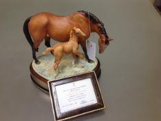 A Royal Worcester limited edition porcelain group, Prince's Grace and Foal, modelled by Doris