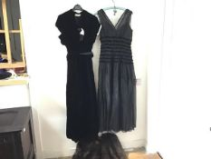 A 1930s/40s Heiress velvet ruched short sleeved cocktail dress with ermine trimmed shoulders and