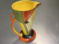 A Wade Heath 1930s tapered ribbed cylinder Art Deco jug with orange, yellow and black stylised