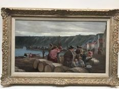 JD Morrison, Fisherwoman waiting at the Quayside, oil on panel, signed lower right (34cm x 58cm)
