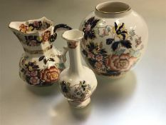 A Masons Ironstone octagonal jug decorated with mandarin pattern (h.13cm), with matching ginger