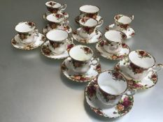 A Royal Albert Old Country Rose twenty three piece part teaset, with transfer printed decoration,