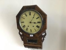 A Victorian Sunderland figured walnut brass inlaid octagonal wall clock with enamelled dial and twin