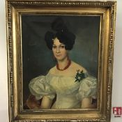 An early Victorian portrait of a Young Lady with Pink Coral Necklace, unsigned (59cm x60cm)