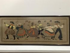 A 1950s Swedish embroidered panel, Folk Dancing, with felted jackets, hats etc. (37cm x 96cm)