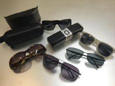 Five various pairs of sunglasses including Police, Jaeger etc. and Wayfarer style sunglasses (some