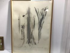 Modern French School, Oasis, charcoal and crayon on paper, signed indistinctly and dated '89 (