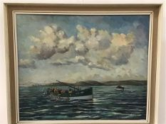 Walter Fairnie, Bell Rock, Fishing on the Firth of Forth, oil on panel, signed and dated 1969 (