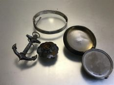 A Victorian white metal anchor and rope hardstone mounted brooch (6cm), a silver hatched bangle (