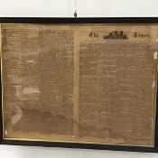 A double sided glazed ebonised frame with gilt slip, The Times, no. 9554, Thursday June 22nd 1815 (