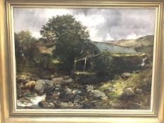 19thc. Scottish School, unknown artist, Fishing by the Mill, oil on canvas (44cm x 60cm excluding