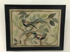 Eleanor A Hyslop, Tropical Birds, original design, sewn work panels in various embroidery stitches
