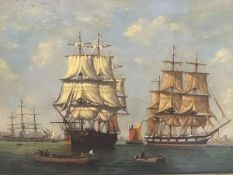 Denzil Smith (British 1924-88), Shipping in a Dutch Port, signed lower left, oil on panel, in gilt