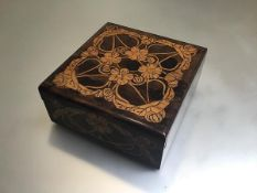 A treen Art Nouveau decorated pokerwork box with stylised floral interlocking decoration (7cm x