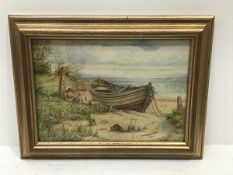 RW Bates, Northumberland Coast with Children, watercolour, signed (17cm x 24cm)