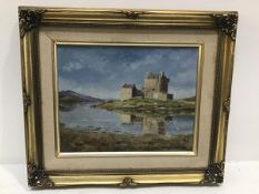 Eilean Donan Castle, Loch Duich, Ross shire, oil on canvas board, signed with initials (19cm x