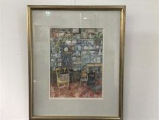 Carola Gordon, Antique Shop with Yellow Chair, watercolour, ex Open Eye Exhibition (38cm x 29cm