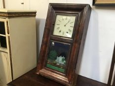 A 19thc Jerome & Co. New Savec, Connecticut, eight day clock with enamelled dial and eglomise panel,