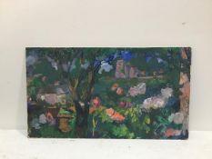 Scottish School, Josephine Haswell Miller ARSA Church Garden, watercolour on panel, unsigned