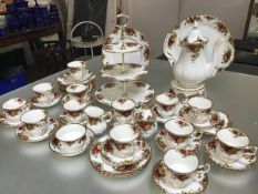 A forty five piece Royal Albert Old Country Rose pattern tea and coffee service, complete with