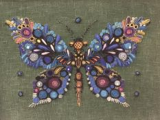 A 1960s hessian backed embroidered butterfly (43cm x 58cm)