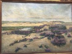 L Cortliabis, The Sands of Brussels, oil on canvas, signed, in gilt composition frame (68cm x 99cm)