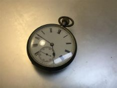 A Victorian silver enamelled pocket watch with subsidiaries dial and roman numerals (4.5cm)
