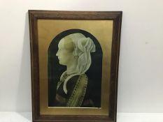 A Medici print in oak glazed frame (47cm x 32cm)