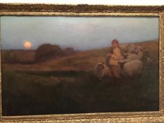 The Young Shepherd with Flock, oil on canvas, signed lower right, J Farquharson and on left