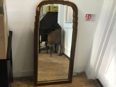 A gilded scalloped frame rectangular Queen Anne style wall mirror (112cm x 54cm)