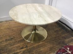 A Johanson Design, Sweden, brass plated metal based travertine circular topped occasional table,